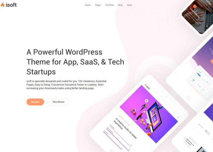 Isoft – Premium Responsive Saas, App and Startups WordPress Theme
