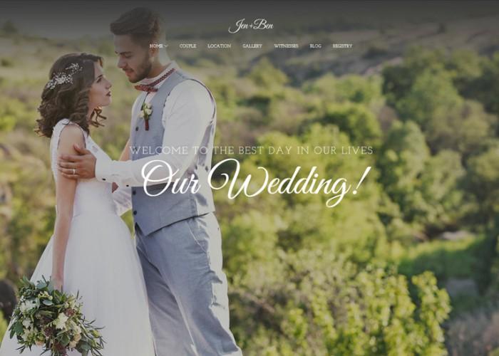 Jen+Ben – Premium Responsive One Page Wedding WordPress Theme