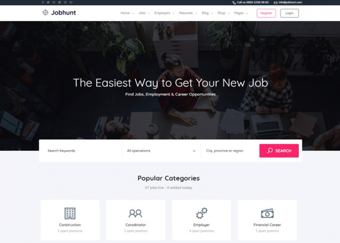 Jobhunt – Premium Responsive Job Board WordPress Theme