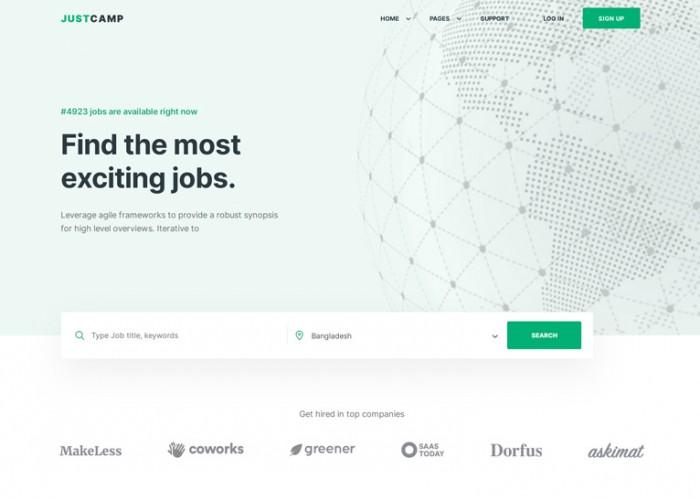 Justcamp – Premium Responsive React Job Board HTML5 Template