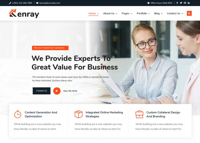 Kenray – Premium Responsive Business Consulting WordPress Theme