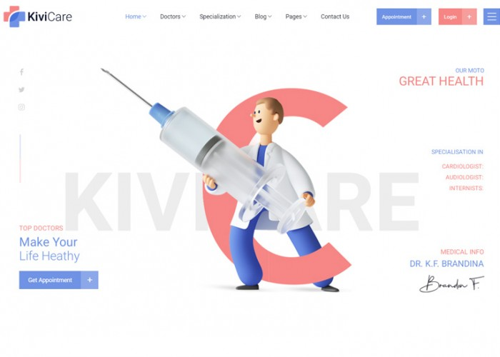 KiviCare – Premium Responsive Medical Management WordPress Theme