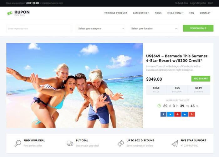 KUPON – Premium Responsive Daily Deals Marketplace WordPress Theme