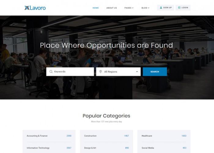 Lavoro – Premium Responsive Jobs Portal HTML5 Template
