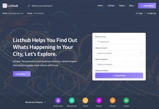 Listhub – Premium Responsive Directory & Listing HTML5 Template
