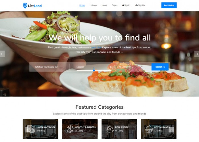 ListLand – Premium Responsive Directory & Listings HTML5 Template