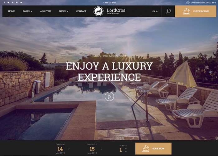 LordCros – Premium Responsive Hotel Booking WordPress Theme
