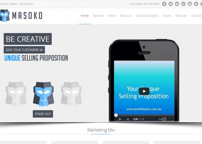 Masoko – Premium Responsive Flat Marketing Joomla Template