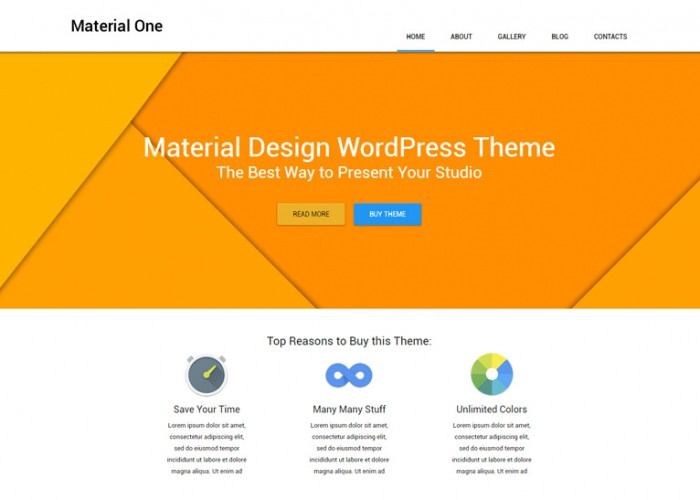 Material One – Premium Responsive Web Design Storage WordPress Theme