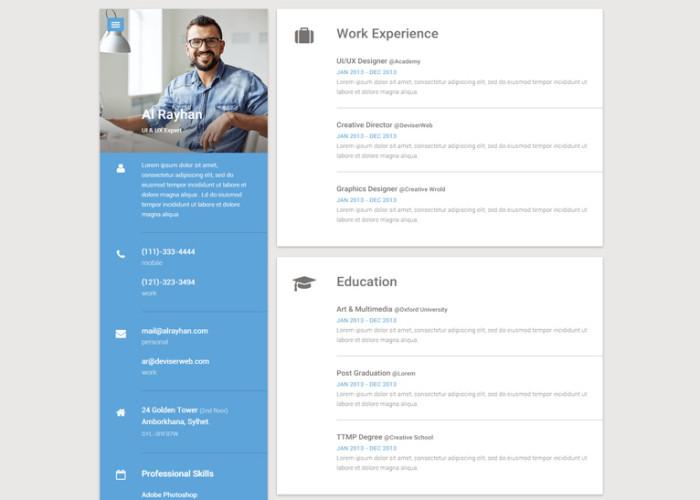 Material – Premium Responsive CV/Resume HTML5 Template