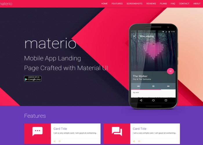 Materio – Premium Responsive Material Design HTML5 Template