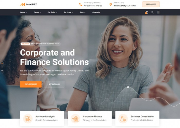 Maxbizz – Premium Responsive Consulting & Financial WordPress Theme