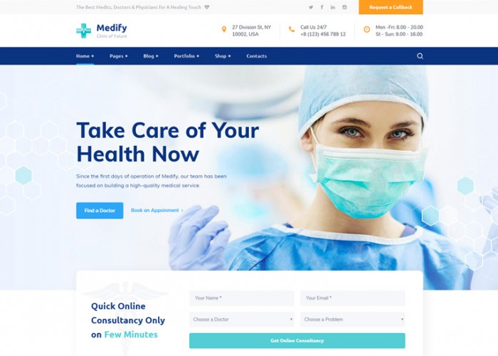Medify – Premium Responsive Health & Clinic WordPress Theme