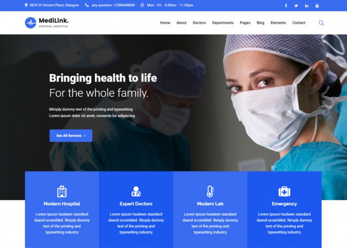 Medilink – Premium Responsive Health & Medical WordPress Theme