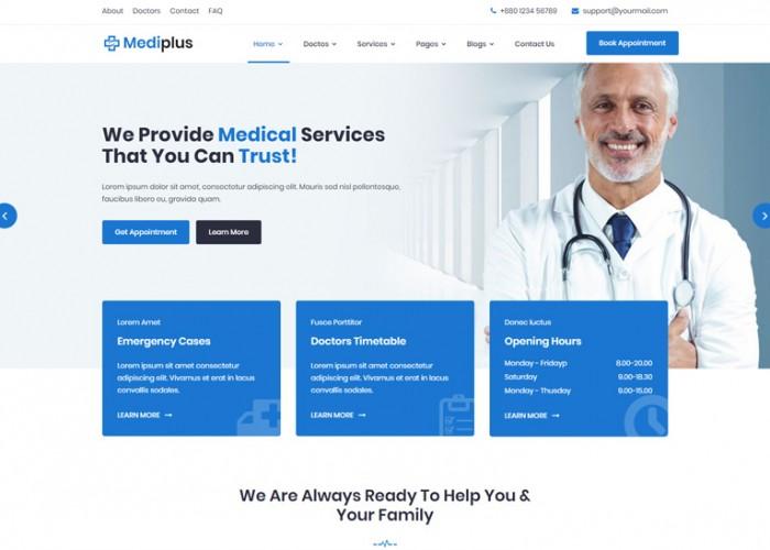 Mediplus – Premium Responsive Medical & Doctor HTML5 Template