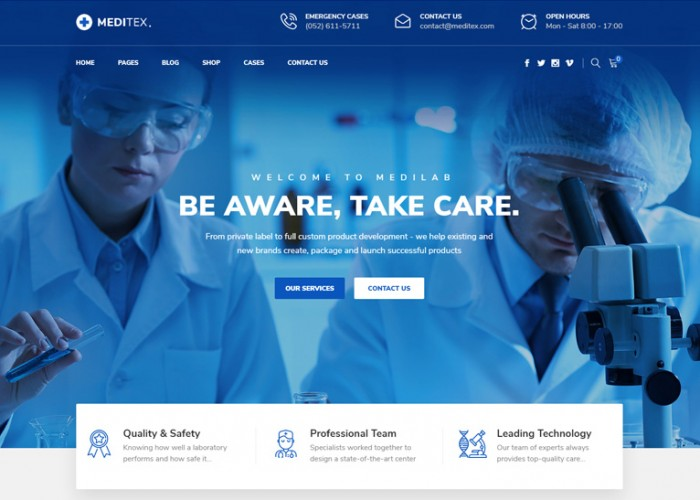 Meditex – Premium Responsive Dental & Medical WordPress Theme