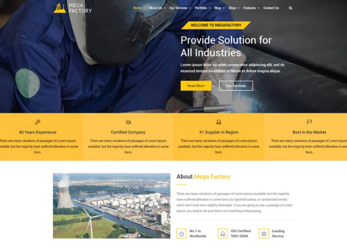 Mega Factory – Premium Responsive Industrial WordPress Theme