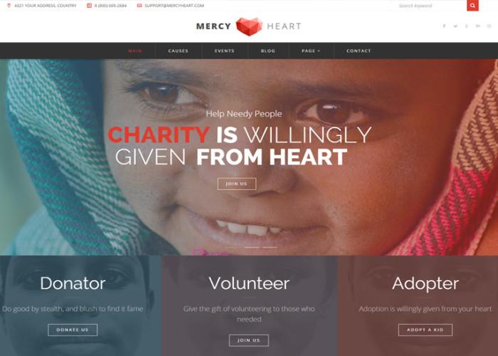 Mercy Heart – Premium Responsive Modern Charity WordPress Theme