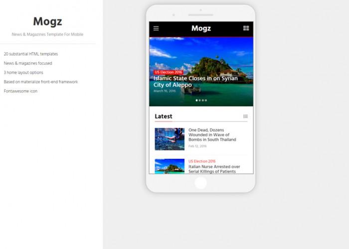 Mogz – Premium Responsive News & Magazines HTML5 Template For Mobile