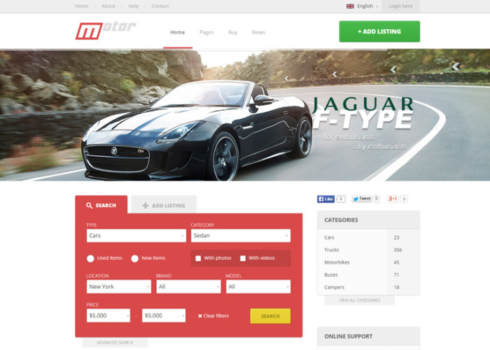 Motor – Premium Responsive Vehicle Marketplace HTML5 Template