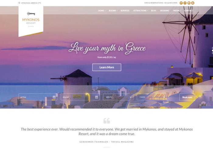 Mykonos Resort – Premium Responsive Hotel WordPress Theme