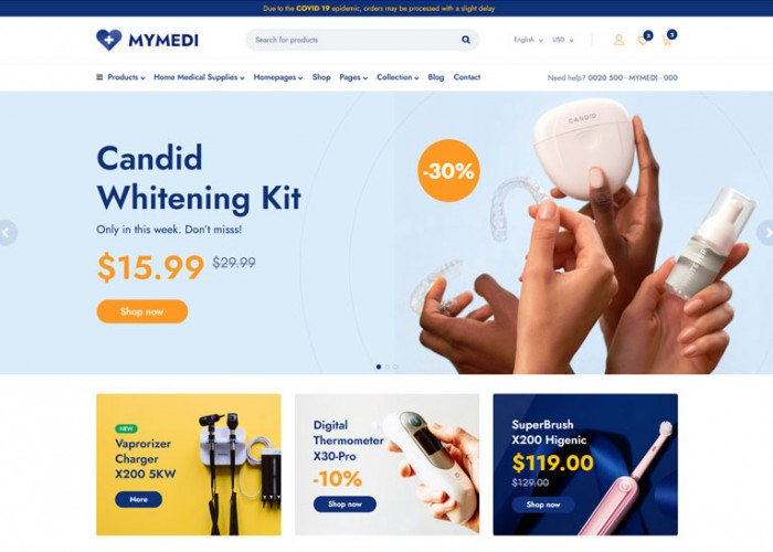 MyMedi – Premium Responsive eCommerce Medical HTML5 Template