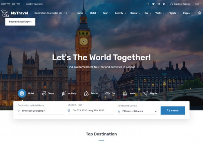 MyTravel – Premium Responsive Hotels Flights Vacations HTML5 Template