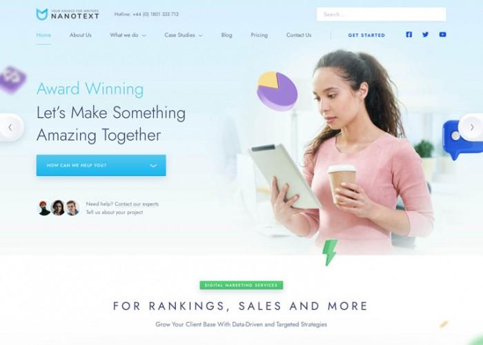 NanoText – Premium Responsive Digital Marketing WordPress Theme