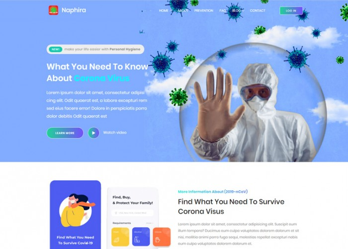 Naphira – Premium Responsive Coronavirus Medical HTML5 Template