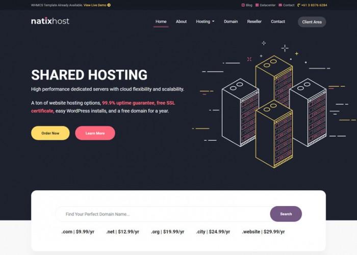 NatixHost – Premium Responsive WHMCS & Hosting HTML5 Template