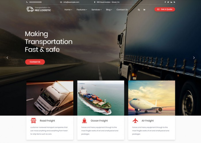 Nile – Premium Responsive Transportation WordPress Theme