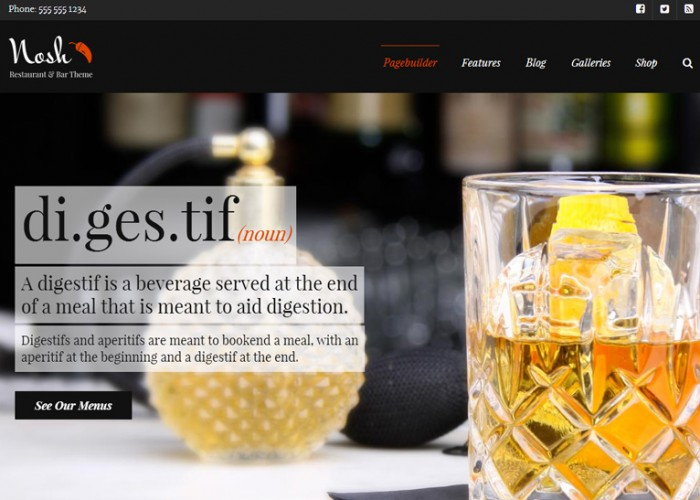 Nosh – Premium Responsive Restaurant and Bar WordPress Theme