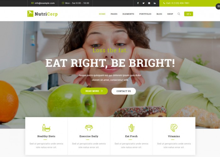 Nutricorp – Premium Responsive Nutrition & Health Creative WordPress Theme