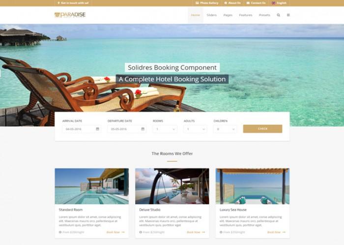 Paradise – Premium Responsive Gantry 5, Hotel & Booking Joomla Template