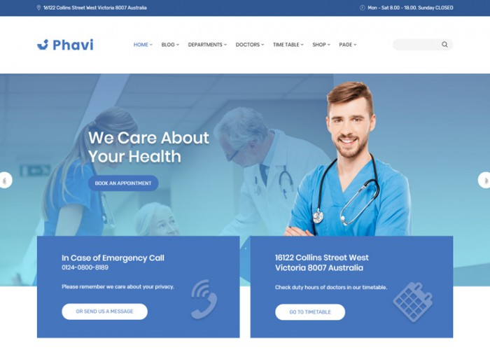 Phavi – Premium Responsive Health Medical Clinic WordPress Theme