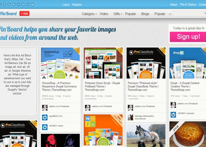 PinBoard – Premium Responsive Drupal Pinterest clone Theme