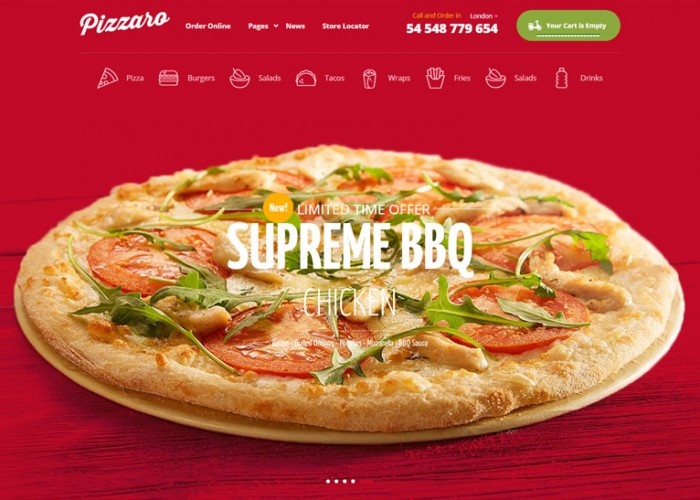 Pizzaro – Premium Responsive Fast Food WordPress Theme