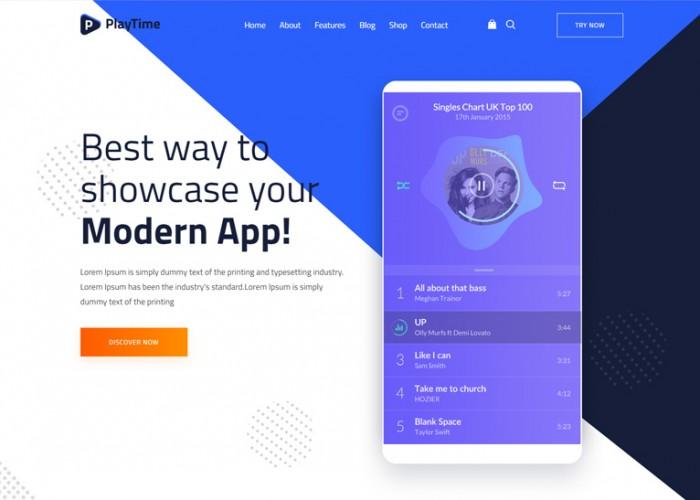PlayTime – Premium Responsive Mobile App Landing HTML5 Template
