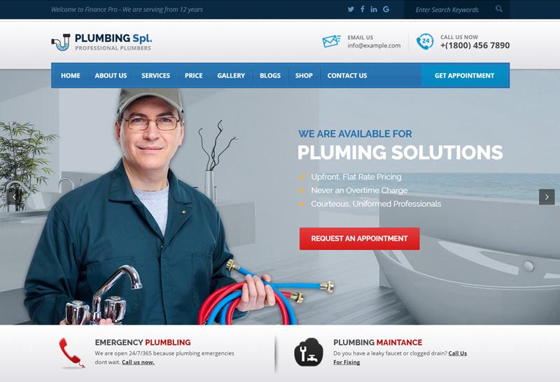 Plumbing Spl - Premium Responsive Plumber WordPress Theme