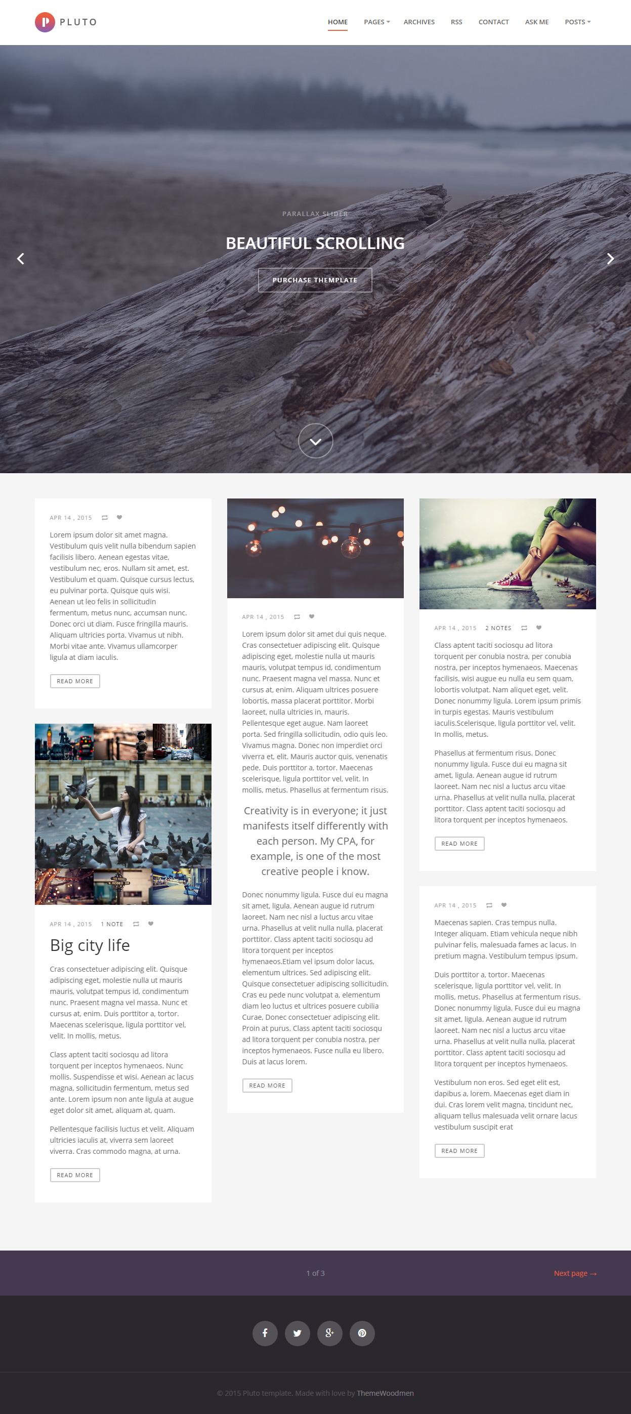 Pluto - Premium Responsive Minimal Tumblr Blog Theme