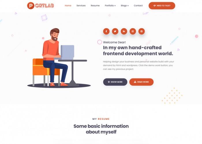 Portlab – Premium Responsive Portfolio or Resume HTML5 Template