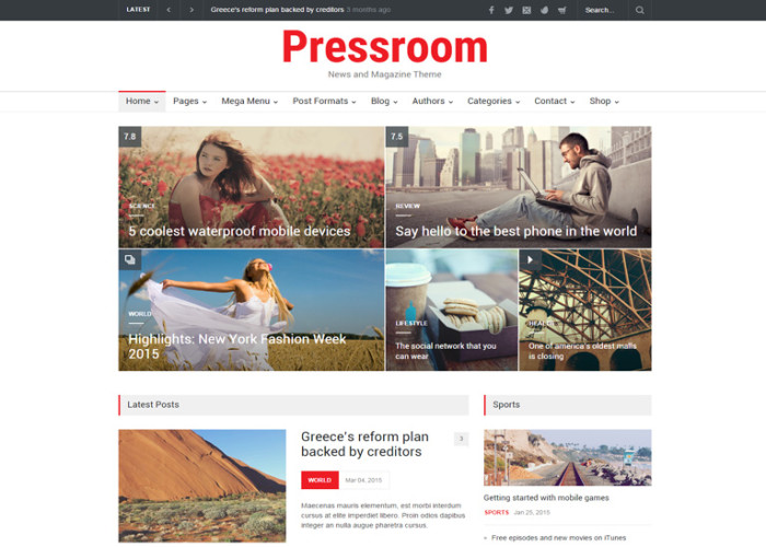 Pressroom – Premium Responsive News and Magazine WordPress Theme