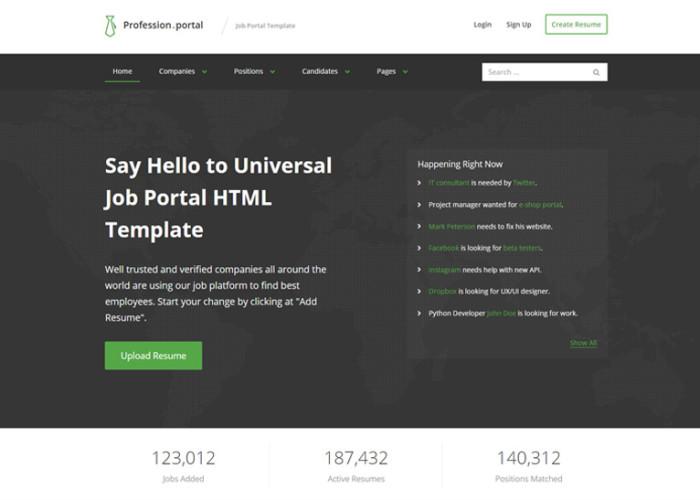 Profession – Premium Responsive HTML5 Job Template