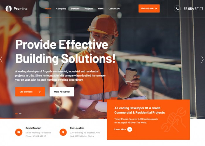 Promina – Premium Responsive Construction Building WordPress Theme