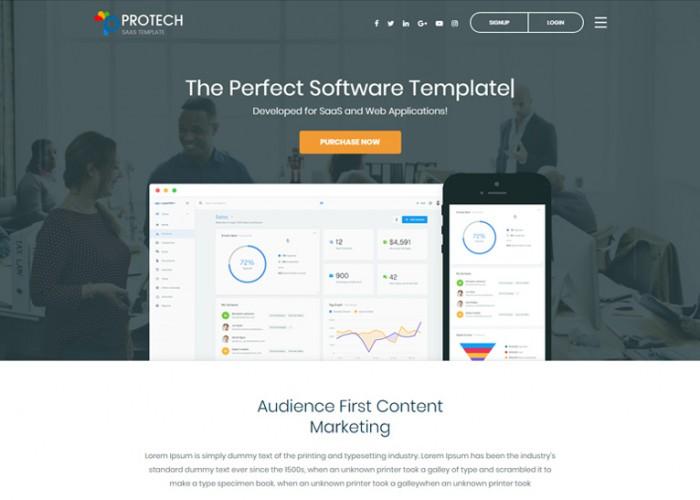 Protech SaaS – Premium Responsive Software WebApp HTML5 Template