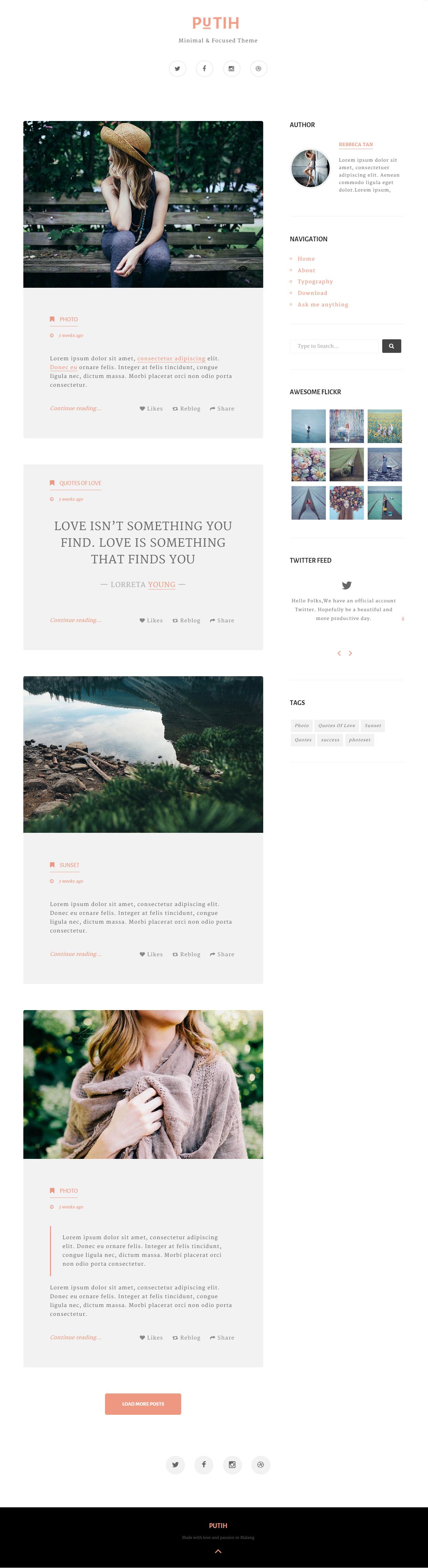 Putih - Premium Responsive Clean Personal Tumblr Theme