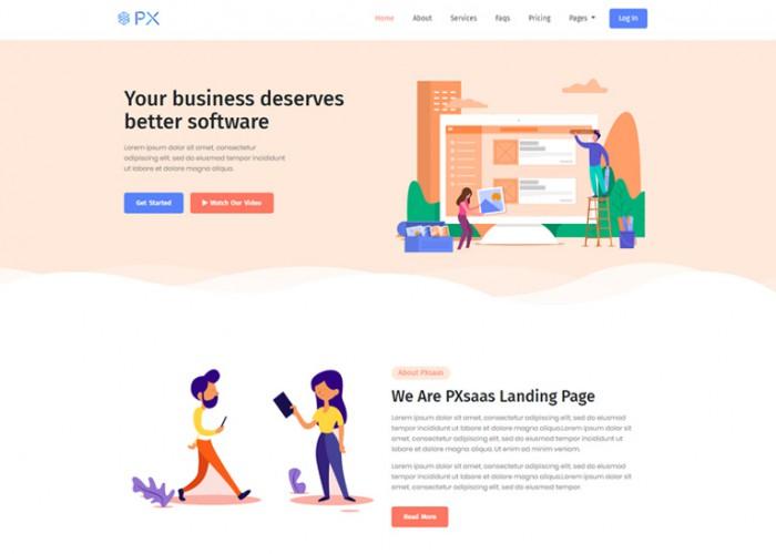 PXsaas – Premium Responsive Saas Landing Page HTML5 Template