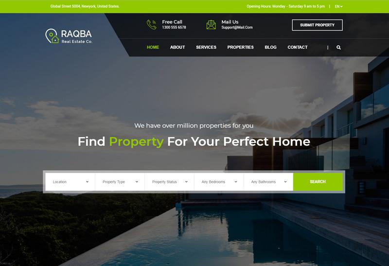 Raqba Premium Responsive Real Estate HTML5 Template
