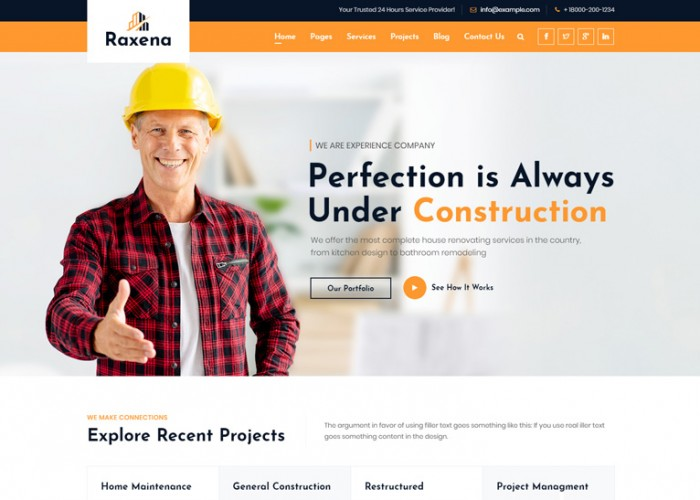 Raxena – Premium Responsive Construction Company HTML5 Template