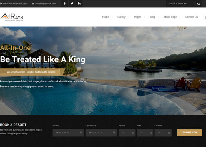 Rays – Premium Responsive HTML5 Template for Spa, Resorts and Hotels